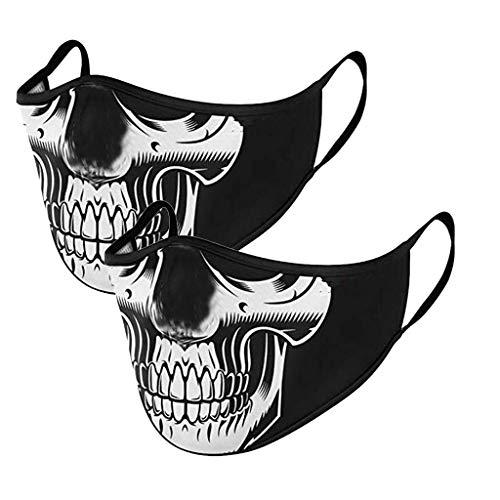 2 Stück Damen Mundschutz mit Motiv Waschbar Print Baumwolle Wiederverwendbar Mund und Nasenschutz Halstuch Multifunktionstuch Mund-Nasen Bedeckung Atmungsaktiv (G)