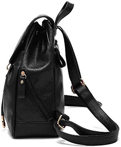 Women's Mini Backpack Wallet PU Leather Canvas Bag Wallet Ladies Casual Shoulder Bag-Black
