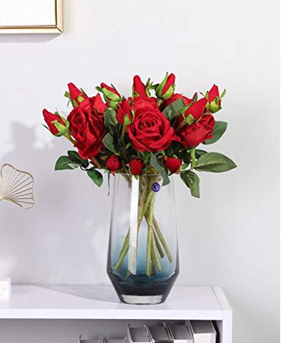 Hawesome 6 Künstliche Rosen Kunstblumen Kunstrosen Flanell rot weiß Rose Dekoration Hochzeit Blumenstrauß Raum Ausgestaltung Blumenarrangement Garten Party Büro Blumenschmuck 18 Rosenköpfe - 4