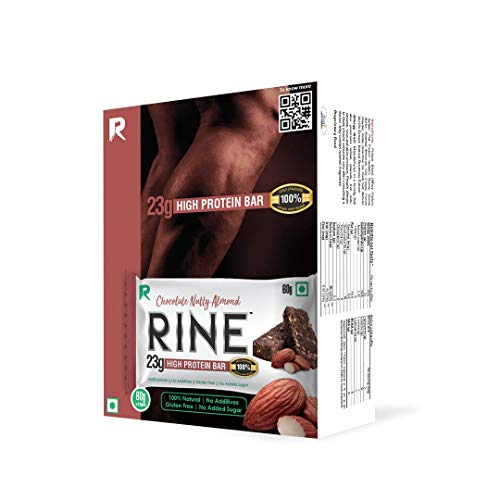 RINE rise and shine High Protein Bar Nutty Chocolate Almond 100 Sugar Free Protein Bar 23 gm Protein in 60 gm Bar Pack of bars, 6 count