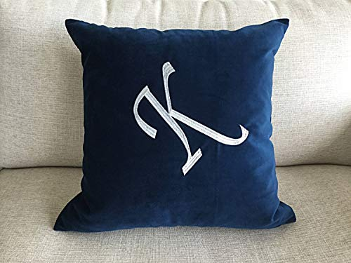 Hose233 - Cojín de terciopelo con diseño de inicial bordado, color azul bebé, rosa, negro, burdeos, gris, 16 x 16 cm