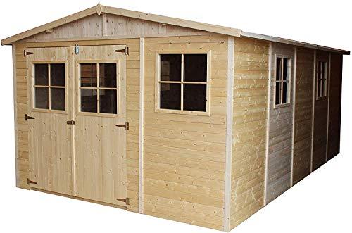 TIMBELA Holz Gartenschuppen - Abstellkammer mit Fenstern - 516x324 cm/15 m² Naturholz-Shiplap-Schuppen - Gartenwerkstatt - Fahrrad- Geräteschuppen M337