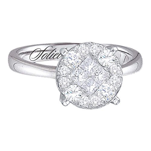 14k White Gold Princess Diamond Engagement Ring Band Bridal Illusion Set Round Cluster 1-1/2 ctw Size 8.5