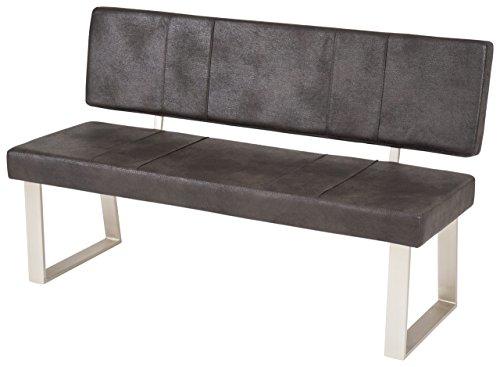 lifestyle4living Esszimmerbank mit Rückenlehne, Anthrazit, 2-Sitzer, Vintage Look, rückenecht | Sitzbank für Esszimmer mit bequemer Polsterung - Füße Edelstahl-Optik