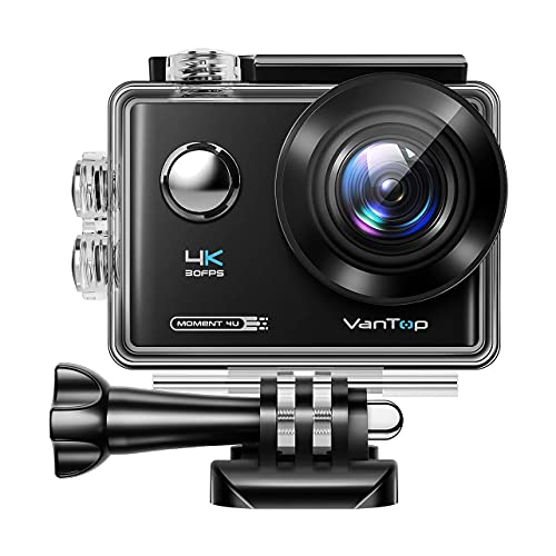 VANTOP Moment 4U 4K Action Camera 20MP Underwater Waterproof Camera with EIS, External Microphone, Touch Screen, Slow Motion, 170° Wide Angle Sports Cam w/Gopro Compatible Accessories
