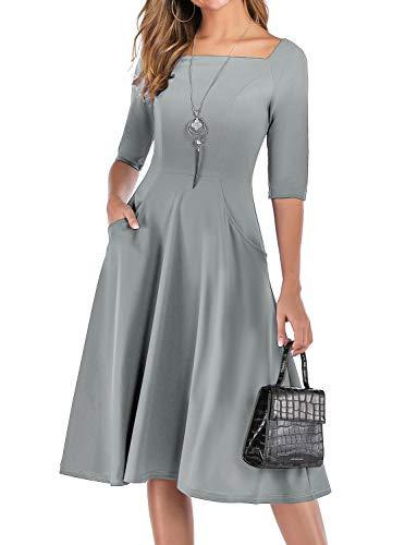 Gardenwed Damen Kleid 1950er Vintage Rockabilly Faltenrock Kleider mit Taschen Midi Cocktailkleid Abendkleider Grey S