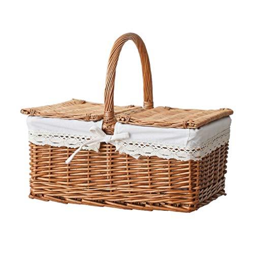 Picnic Cestas Preparación de picnic de Split Willow Cesta de Split cesta de mimbre de picnic cesta de picnic Ins portátil tejida jardín de almacenamiento cesta de bambú con tapa portátil al aire libre
