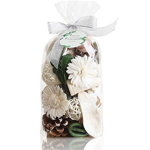 Qingbei Rina Potpourri Bag 280g Jasmine Scent Dried Flower Home Fragrance Sachet Bowl Vase Filler Table Centerpiece Decoration (White and green)