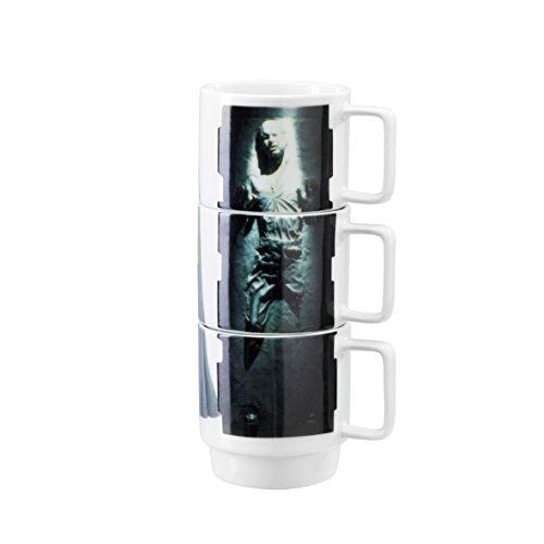 Star Wars- Conjunto de Tres Tazas apilables con imágenes de Esclava Leia, Han Solo en carbonita y Lando Calrissian (Underground Toys SW02604)
