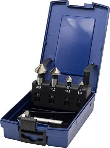 PTG Ratioline HSS Kegelsenker-Set 5 teilig (Größe 6,3 - 10,4 - 16,5 - 20,5 + 25,0 mm, in Kunststoffbox, blank, Metall) 3533507005