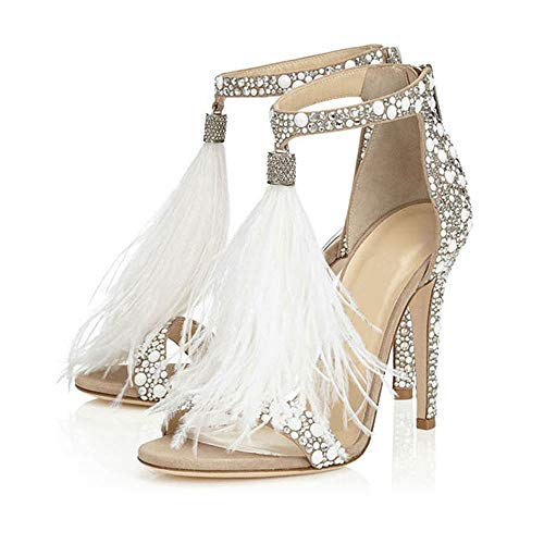 Hinyyrin Women's Tassels Rhinestone Heeled Sandals Wedding Dress White Sandals Stiletto Heel Pearl Size 10