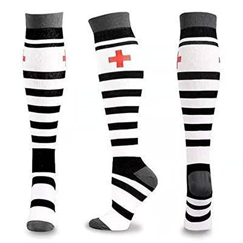 2 Pares 58 Estilos Medias de compresión Unisex de Calidad Calcetines de Ciclismo Se Ajustan a Edema médico, Diabetes, Venas varicosas, Calcetines de maratón para Correr-a80-L-XL