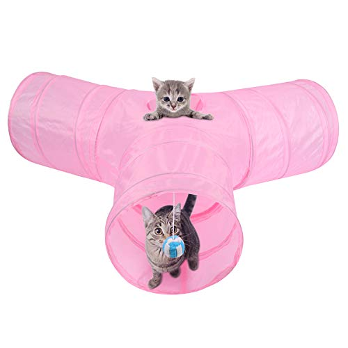MFEI Cat Tunnels for Indoor Cats Pink,Kitten Play Tunnel, Pet Tunnel 3 Way Crinkle Collapsible Tube Toy Tunnel for Feline Rabbits,Ferrets,Dogs, Pets