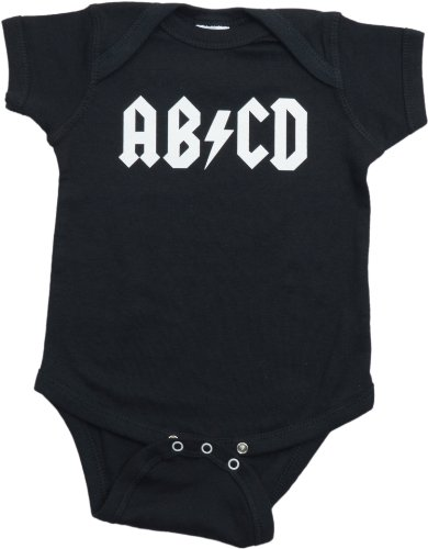 Ann Arbor T-shirt Co. Unisex Baby AB/CD Funny Infant Rock and Roll One Piece-Newborn Black