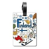 Etiqueta de identificación para Maleta de la Bandera Nacional de Finlandia, con Texto en inglés Love Heart