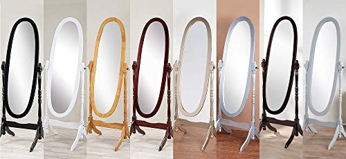 GTU Furniture Swivel Adjustable Full-Length Oval Wood Cheval Floor Mirror, in White/Black/Cherry/Oak/Silver/Gold Finish (White)