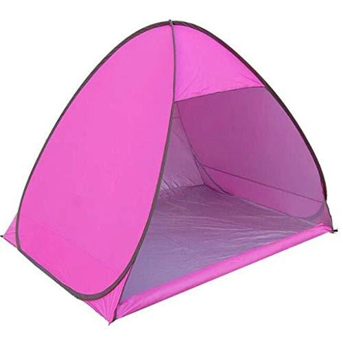 Uitstapje Udstyr,2-4 Person Beach Tent,Super Beach Paraplu Outdoor Sun Shelter Cabana Automatische Pop up UPF 50+ Sun Shade Draagbaar, Geschikt voor Camping Vissen Wandelen Luifel, Kejing Miao roze