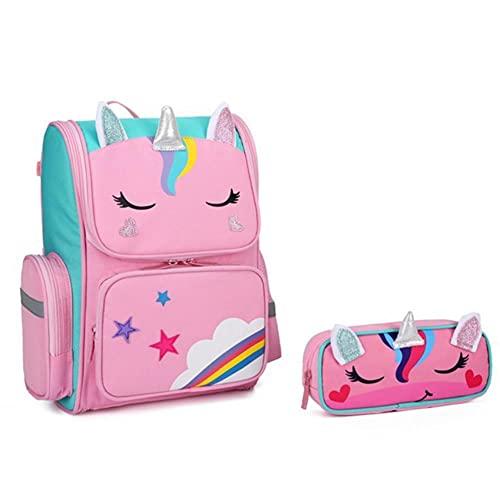 UKKD Mochila para niños Mochilas De La Escuela Primaria De Los Niños Del Unicornio 3D De La Historieta 3D-Pink