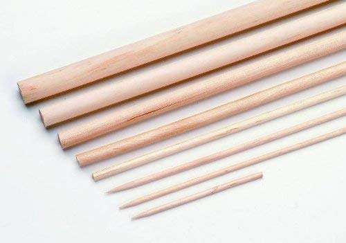 Glorex Rundstab 8mm 25cm 6St, Holz, Natur, 25 x 5 x 5 cm