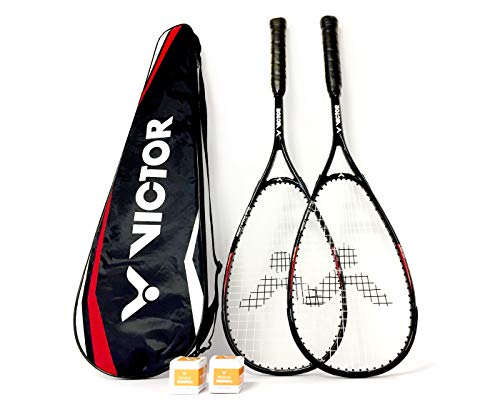 VICTOR Squashset: 2X Squashschläger Magan Core Black Deluxe Edition + 2 Squashbälle + 1 Schlägertasche; erhältlich áuch als Einzelschläger (Set)