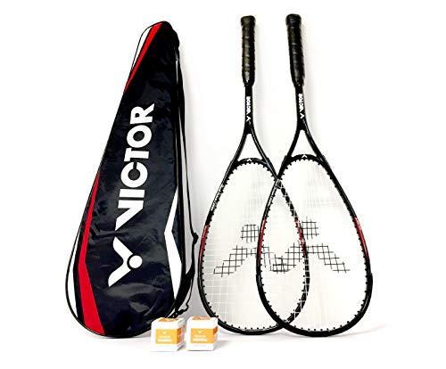 Victor Squashset Deluxe Two: 2 Squashschläger Black Deluxe + 2 Squashballe + Schlägertasche
