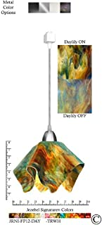 product image for Jezebel Signature Flame Track Lighting Pendant Small. Hardware: Nickel. Glass: Daylily