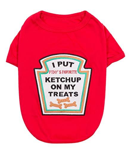 Mascota parisina  Disfraz de perro divertido para mascotas, disfraz de policia, prisionero, ketchup, mostaza, doctor, bombero, marinero, pirata (Ketchup Licker, XL)