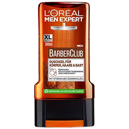 L'Oréal Men Expert Barber Club Duschgel für Körper, Haare & Bart, das reinigende Duschgel mit dem maskulinen Zedernholz-Duft sorgt für 24H anhaltende Frische (1 x 300ml)