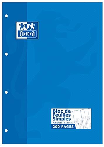Oxford Bloc de 200 Pages Feuilles Simples Grands Carreaux Seyès A4 21x29,7 Perforées Copie Simple - Feuillets Mobiles