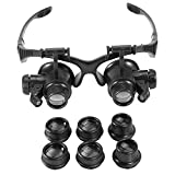 Duevin New Head Mount Magnifier with Light, 10x 15x 20x 25x LED Illuminated Double Eye Jeweler Watch Repair Magnifying Glasses Loupe Headband Magnifier
