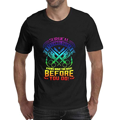 Mens Short Sleeve Crew Neck T-Shirt Surgical Technologist Knows What You Want Before Classic Casual Tops Dome Tee