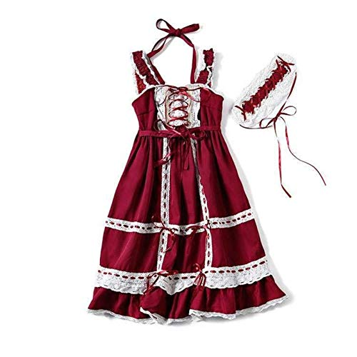 U/D LCMUS Japanese Sweet Lolita Dress Vintage Lace Bowknot Cross Strap High Waist Victorian Dress Kawaii Girl Gothic Jsk (Color : Red, Size : One Size)