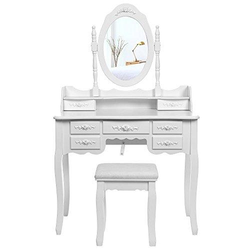 SONGMICS Grande Coiffeuse, Table de Maquillage, avec 1 Miroir pivotant à 360°, 7 Tiroirs et 1 Tabouret, Blanc RDT10W