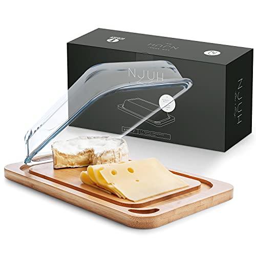 NJUH home x living® Käseplatte - Hochwertige Aufschnittbox Glas - Käse Aufbewahrung aus nachhaltigem Bambus - Umweltfreundliches Käsebrett mit Glocke - FSC-zertifizierte Käseaufbewahrungs Box 1l