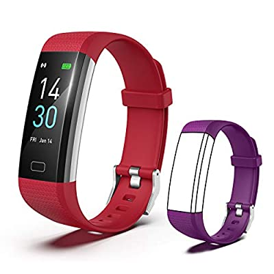 [2020 New Version] Fitness Tracker, Activity Tracker Watch with Heart Rate Monitor, Message Notification,IP68 Waterproof Calorie Counter, Pedometer Watch with Connected GPS for Android & iPhone(red)