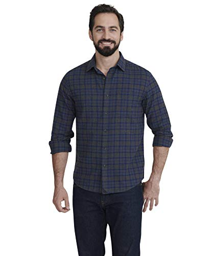 UNTUCKit Macari - Men's Button Down Shirt Long Sleeve, Charcoal & Blue Plaid, Large Slim Fit