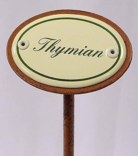 Kräuterschild Kräuterstecker Emaille, Thymian, Erdspieß 25 cm