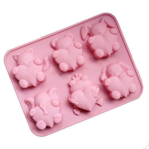 DaoRier Moules Silicone Chaton Petit Ours Lapin éléphant Grenouille Chiot DIY Gateaux Jelly Ice Gâteau Chocolat Six Petites Formes d'animaux Moules en Silicone 1 PCS