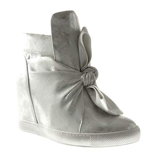 Angkorly - Damen Schuhe Sneakers - Turnschuhe keil - Fliege - Glänzende Keilabsatz 9 cm - Silber 88-115 T 40