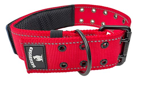 Dog Collars K9 Harness Tactical Military Style - 2' Two Inch Wide Heavy Duty Thick Nylon Webbing for Strong Large XL Big Dogs - Metal Two Pin Belt Buckle - USA American Flag Patch (12'-20', RED)
