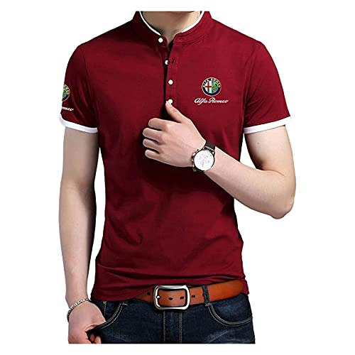 Xilinmen Polo da Uomo Maglietta da Golf per Il Tempo Libero, Maglietta con Colletto Rialzato Maglietta A Maniche Corte con Stampa Alfa-Romeo, Magliette Estive All'aperto Polo,Rosso,XS/X~Small