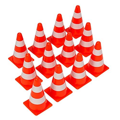 BRAMBLE 12 Conos de Tráfico de Entrenamiento, 23cm - Naranja y Blanco