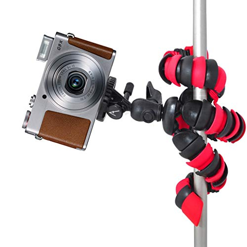 """Acuvar 12"""" Inch Flexible Camera Tripod with Wrapable Disc Legs & Quick Release Plate + Universal Smartphone Mount for All Smartphones"""