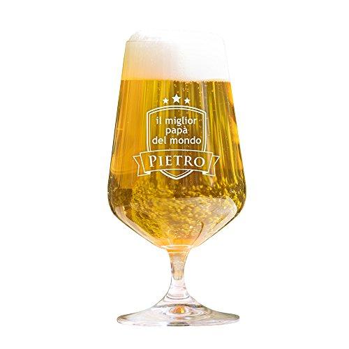 AMAVEL Bicchiere da Birra Chiara con Incisione Miglior papà del Mondo Personalizzabile con Nome, Calice a Tulipano in Vetro, Accessori Decorativi Cucina, Degustazione