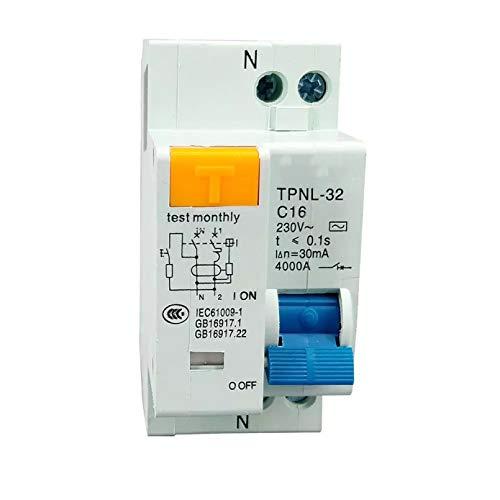 LUOXUEFEI Disyuntor Diferencial Interruptor Disyuntor De Corriente Residual De 230 V 1P N ConProtección Contra SobrecorrienteY CortocircuitoContra Fugas