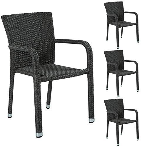 4er Set Stapelbarer Armlehnstuhl aus der Möbelserie Barcelona in grau mit Armlehnen exkl. Auflage für Garten, Terrasse oder Balkon - Gartenmöbel Stühle Terrassenstuhl Balkonstuhl Stuhl Gastro