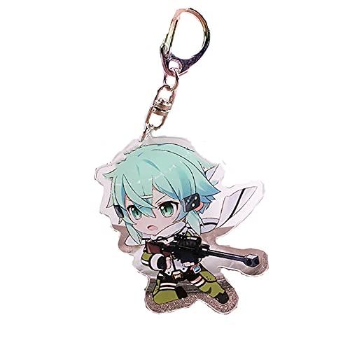 BJSBJD Llavero Anime Sword Art Online Sinon Juego Personaje Llavero, Juego de Roles Llavero Accesorios Colgantes, Adecuado para Regalos para Adolescentes y niños,6×4,1cm