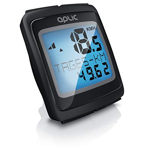 CSL - Fahrradcomputer kabellos - Fahrradtacho Kilometerzähler Tachometer - Temperaturanzeige in Grad Celsius - 1,5 Zoll 38,1 mm LCD-Display mit Blauer Hintergrundbeleuchtung - Reed-Sensor