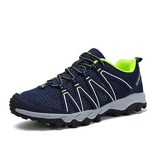 KUXUAN Wanderschuhe Herren Damen - rutschfeste und Stoßdämpfende Upstream-Schuhe Sport Atmungsaktives Mesh Wandern Outdoor-Schuhe Damen,Blue-46EU=(280mm)