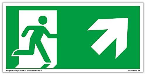 Schild Notausgang | extra langnachleuchtend | PVC selbstklebend 297x148mm | gemäß ASR A1.3 DIN 7010 DIN 67510 | Notausgangsschild rechts schräg aufwärts | Fluchtweg Rettungsweg | Dreifke® extra 160